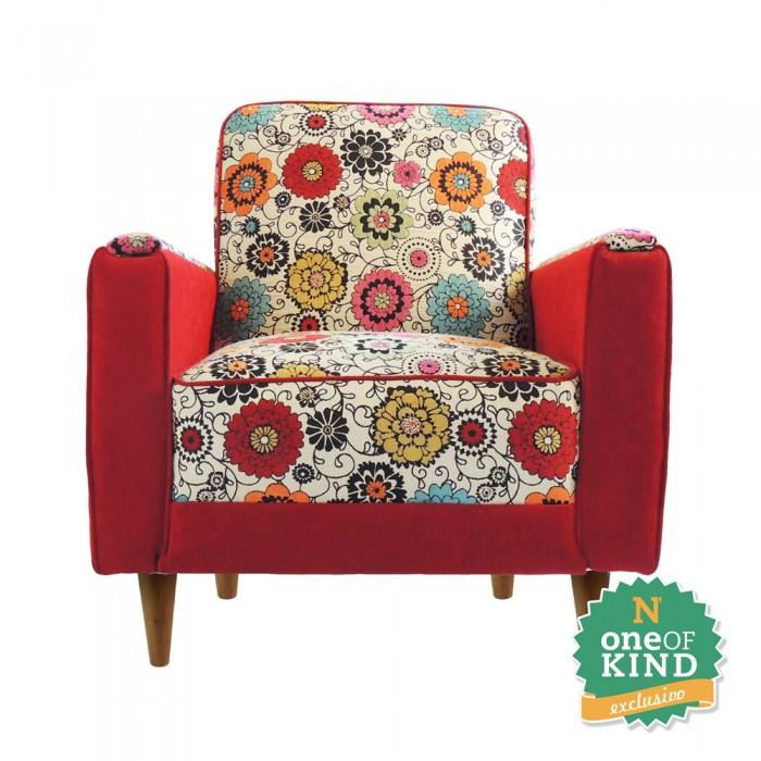 Poltrona Jacquard Vintage -  Estampado Floral  - N Store