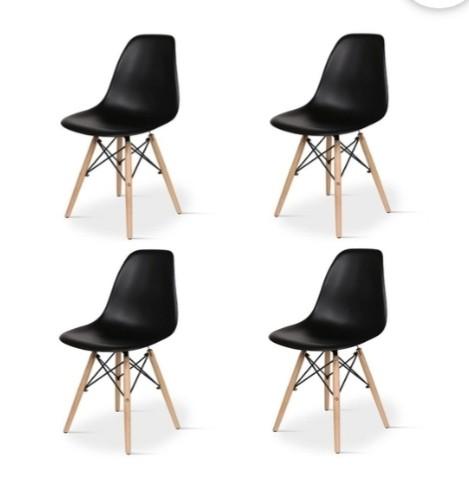 Conjunto com 4 Cadeiras  Eiffel Base Madeira Preta   - N Store