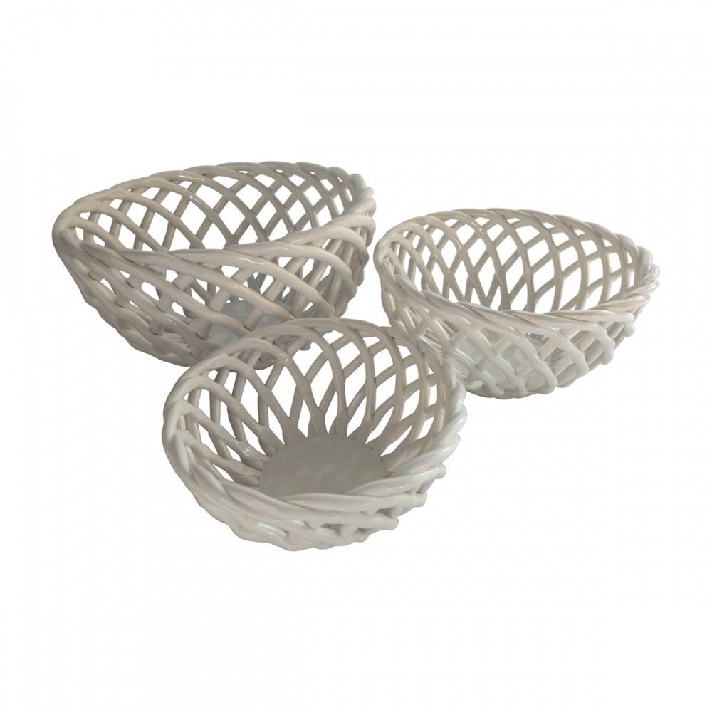 Conjunto de Cestas Cerâmica Branca 3 pçs  - N Store