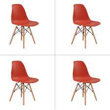 Cadeira Eiffel Charles Eames Base Madeira Laranja Telha - Kit 4 unidades  - N Store