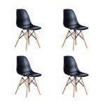 Cadeira Eiffel Charles Eames Base Madeira Preta - Kit 4 unidades  - N Store