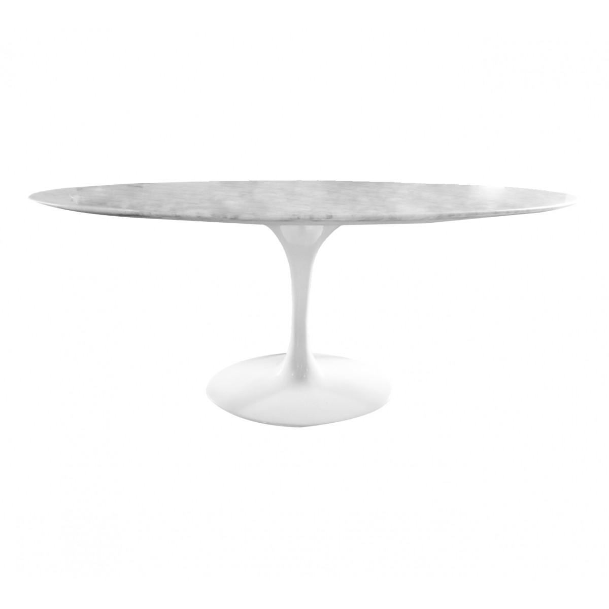 Mesa de Jantar Saarinen Oval Branca e Tampo de Mármore  - N Store