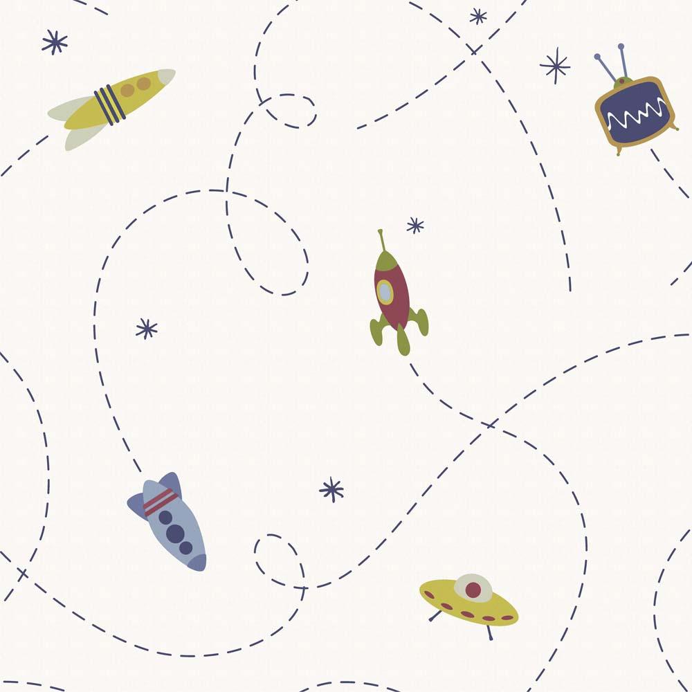 Papel de parede Naves espaciais Infantario Bobinex  - Gatinhando Quarto dos Sonhos