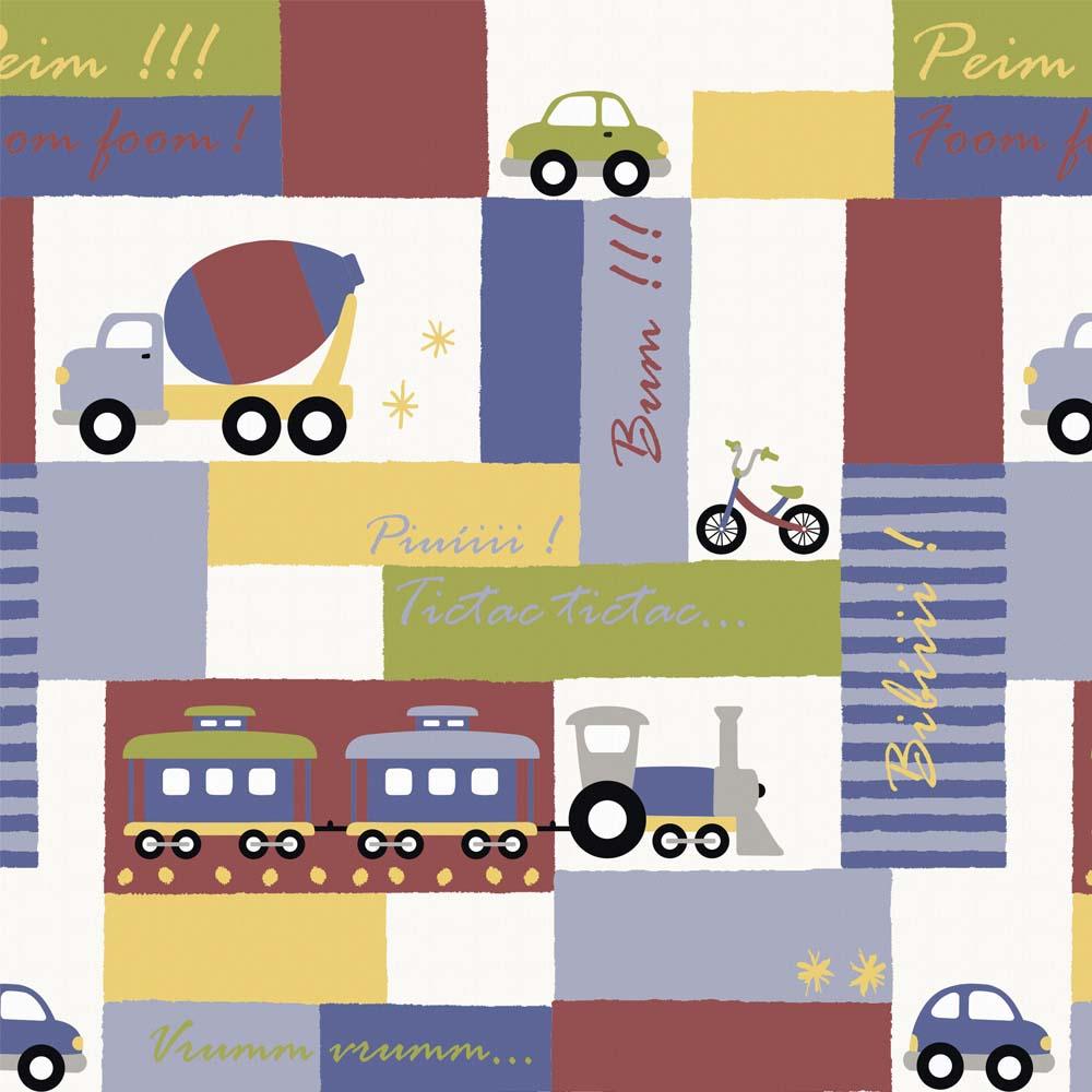 Papel de parede Transportes coloridos Infantario Bobinex  - Gatinhando Quarto dos Sonhos
