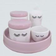 kit de higiene Cerâmica 5 peças- Cílios rosa