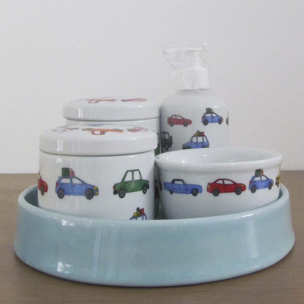 Kit de higiene em Louça (5 peças) - Carros  - Gatinhando Quarto dos Sonhos