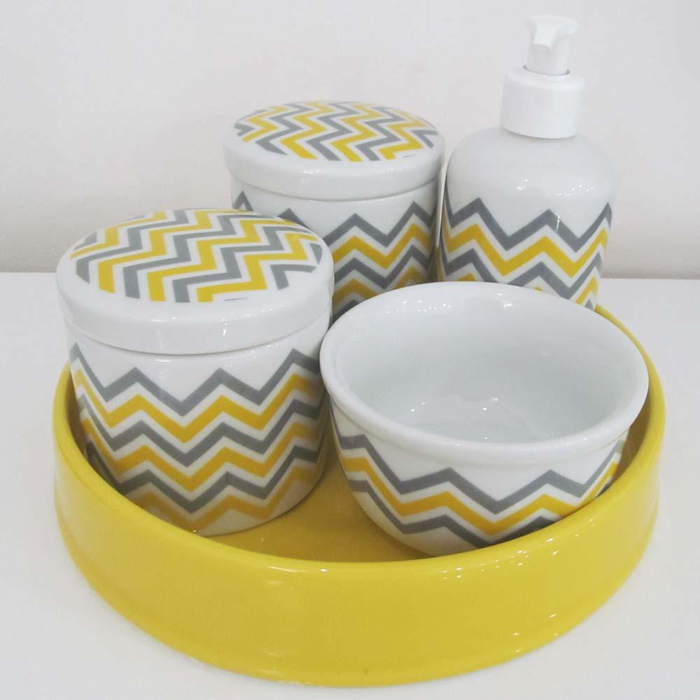 Kit de higiene em Louça (5 peças)  - Chevron   - Gatinhando Quarto dos Sonhos