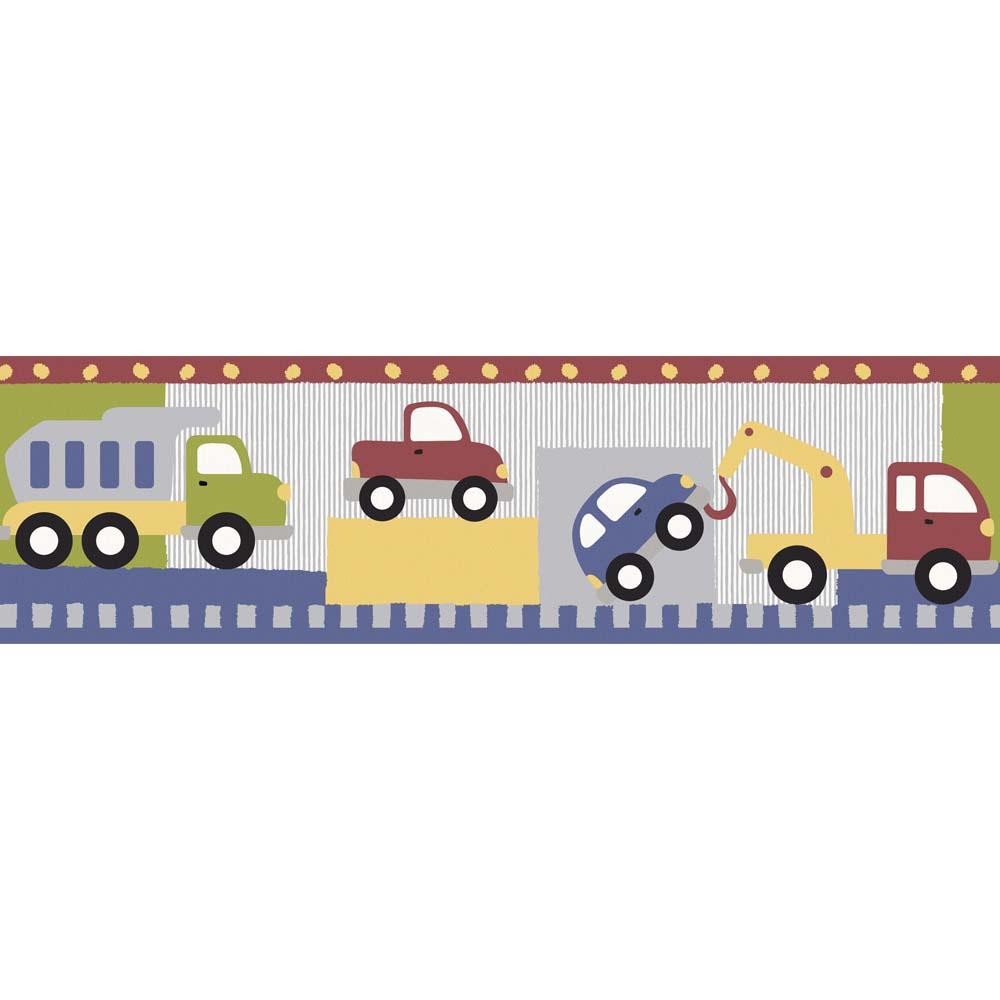 Faixa de papel de parede transportes coloridos infantario Bobinex  - Gatinhando Quarto dos Sonhos