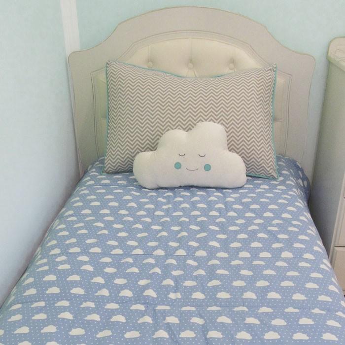Kit cama solteiro 3 peças - Nuvem   - Gatinhando Quarto dos Sonhos