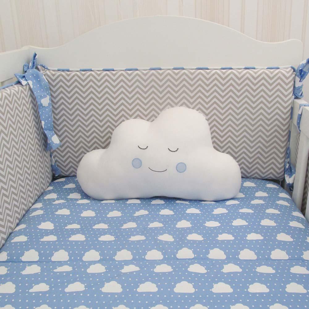 Kit de Berço chevron com nuvens 10 pçs   - Gatinhando Quarto dos Sonhos