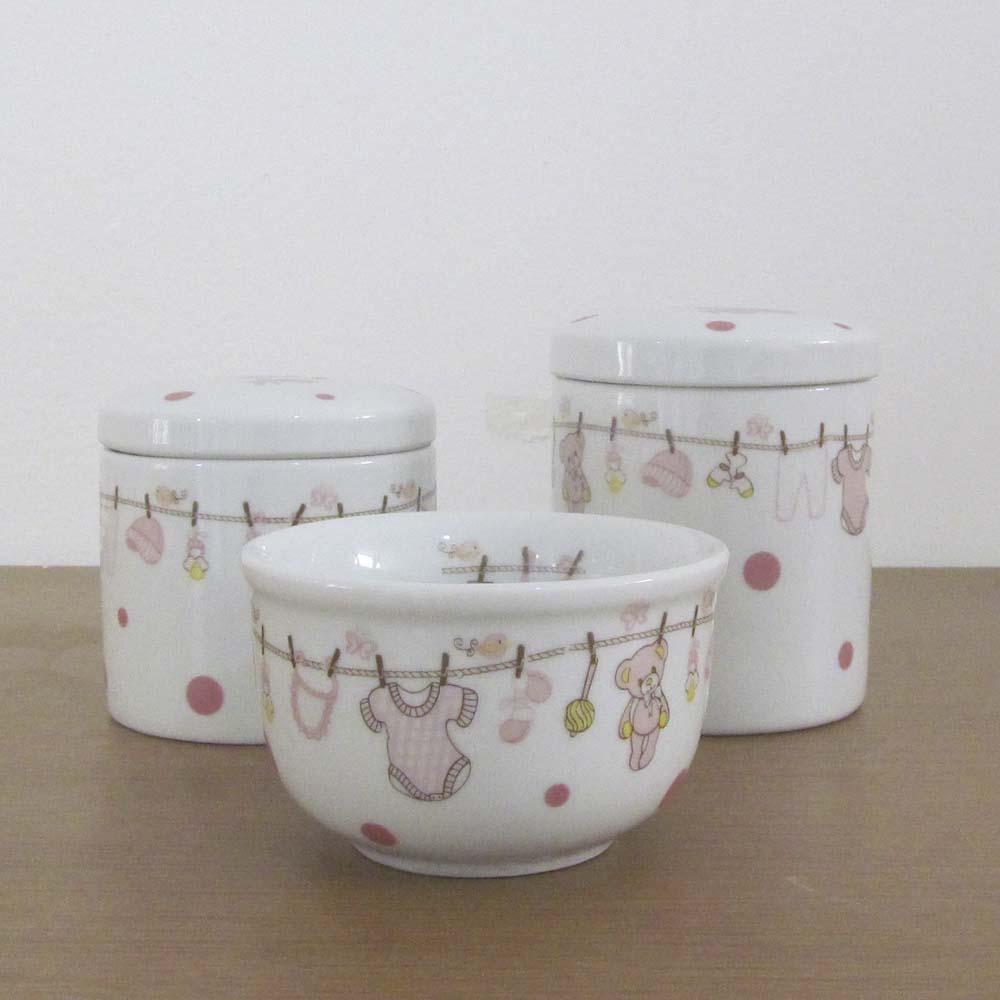 Kit de higiene Porcelana Urso Varal 3 peças  - Gatinhando Quarto dos Sonhos
