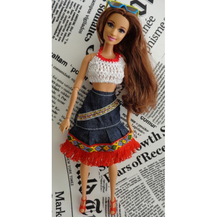 Conjunto de Saia e Blusa para Barbie - Pullip  - CANTINHO DA MANDINHA