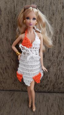Vestido de crochê com pontas coloridas  - CANTINHO DA MANDINHA