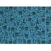 Placa Paris Preto Fundo Azul BB 40x60cm