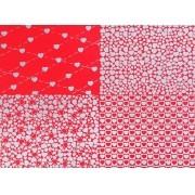 Placa Quatro Corações Vermelho e Prata 40x60cm