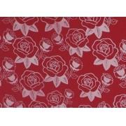 Placa Flor(5) Branca Fundo Vermelho 40x60cm
