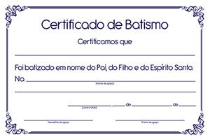 Certificado de Batismo (unidade)  - Distribuidora EBD