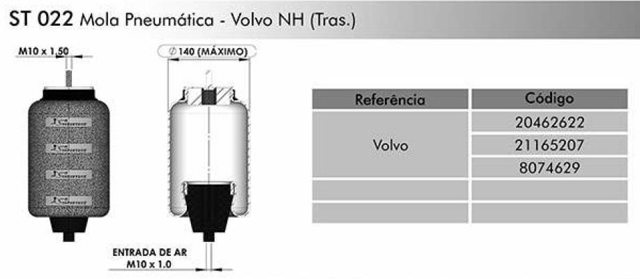 St 022 Bolsa Cabine Volvo Nh Suspentech  - TERRA DE ASFALTO ACESSÓRIOS