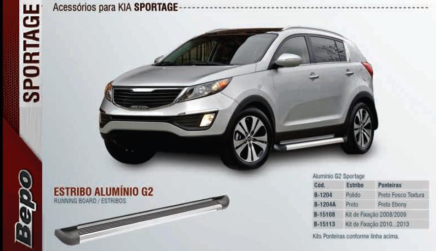 Estribo aluminio modelo g2 - bepo - kia sportage  - TERRA DE ASFALTO ACESSÓRIOS