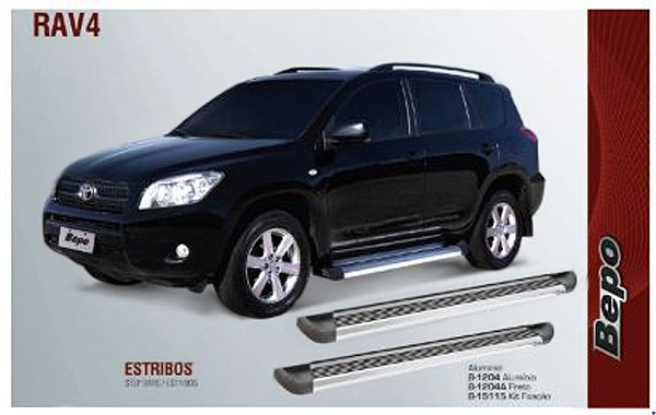 Estribo aluminio  g2 - bepo - toyota rav4 2007 a 2012  - TERRA DE ASFALTO ACESSÓRIOS