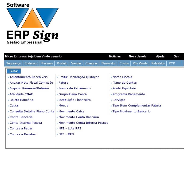 Software de Gestão Empresarial SIGN  - Meu Plotter