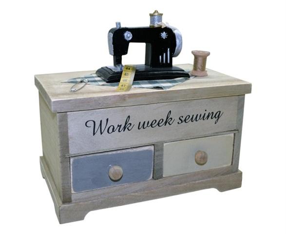 Porta objetos em formato de máquina de costura com gavetas e tampa
