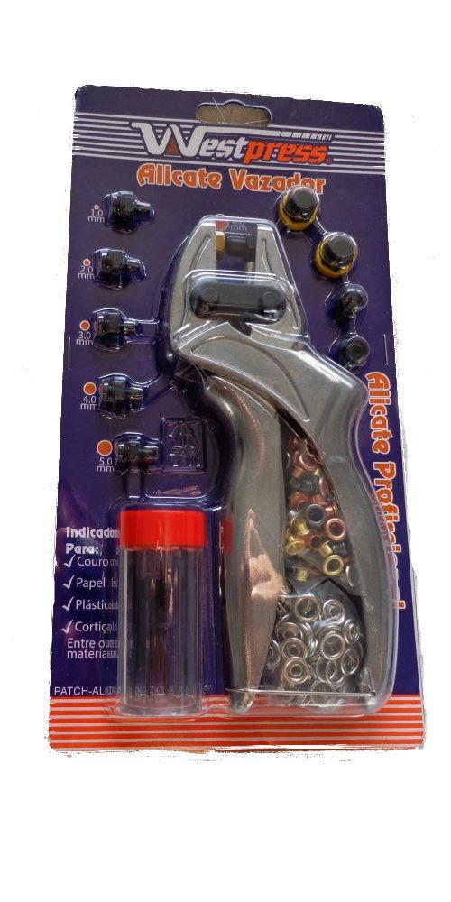 Alicate que fura e prega botões de pressão e rebites