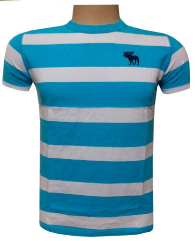 Camiseta Abercrombie Azul Claro e Branca - AF223  - ACKIMPORTS