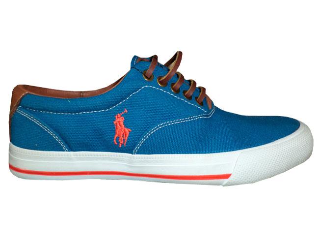 Tenis Ralph Lauren Vaughn Azul e Marrom  - ACKIMPORTS