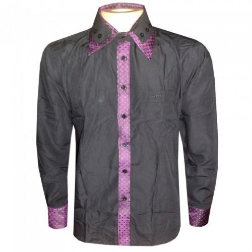 Camisa social Hugo Boss Preta e Roxa HB67  - ACKIMPORTS