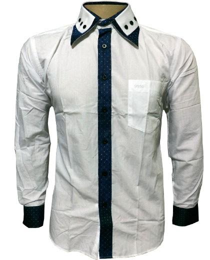 Camisa Social Hugo Boss Manga Longa Slim Fit Branca e Azul - HB10  - ACKIMPORTS