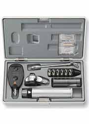Conjundo diagnóstico Oftalmoscópio e Otoscópio+espelho laringeo K-180, 3,5V, com bateria recarreg. HEINE