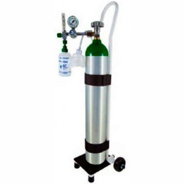 Kit oxigênio portátil cilindro de  Alumínio + Carrinho + Carga de O2