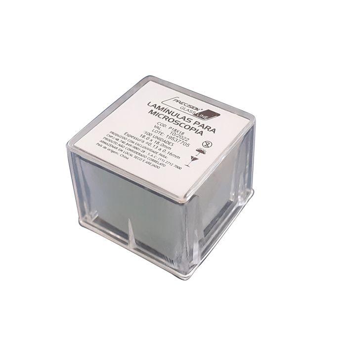 lamínula para microscopia 18x18mm com 200 unidades