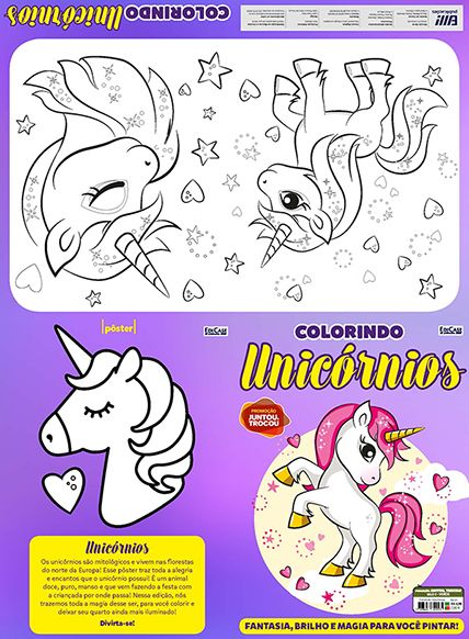 Colorindo Unicórnios Ed. 01 - Pôster Para Colorir  - Case Editorial