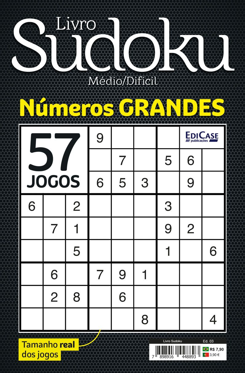Livro Sudoku Ed. 03 - Médio/Difícil - Com Números Grandes - Só Jogos 9x9  - EdiCase Publicações