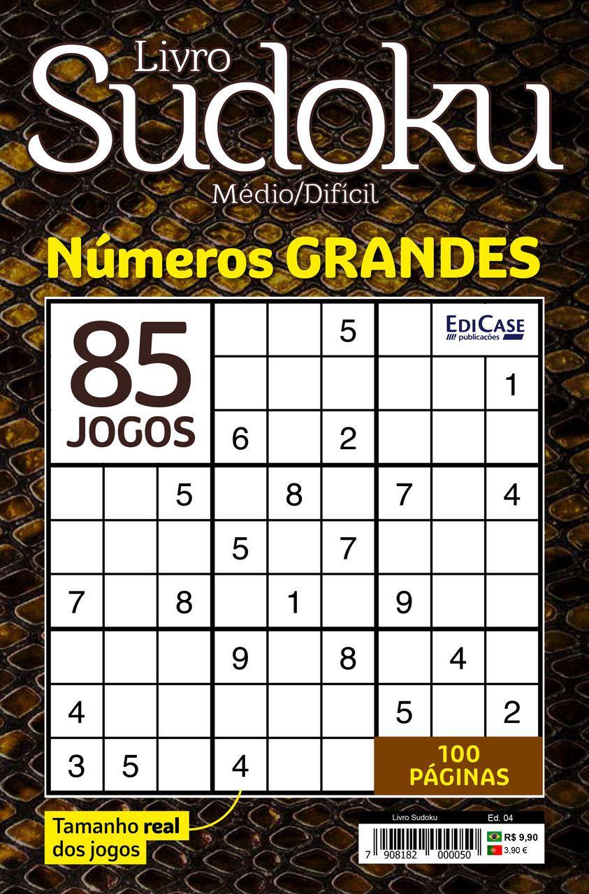 Livro Sudoku Ed. 04 - Médio/Difícil - Com Números Grandes - Só Jogos 9x9  - EdiCase Publicações