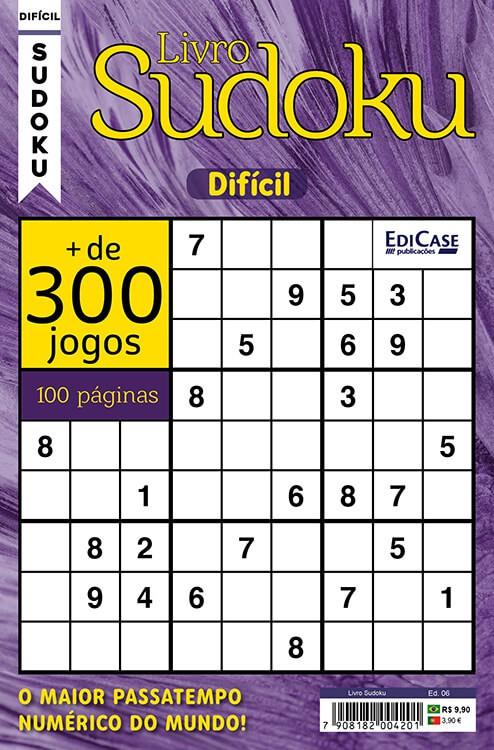 Livro Sudoku Ed. 06 - Difícil - Com Marcador de Tempo - Só Jogos 9x9   - EdiCase Publicações