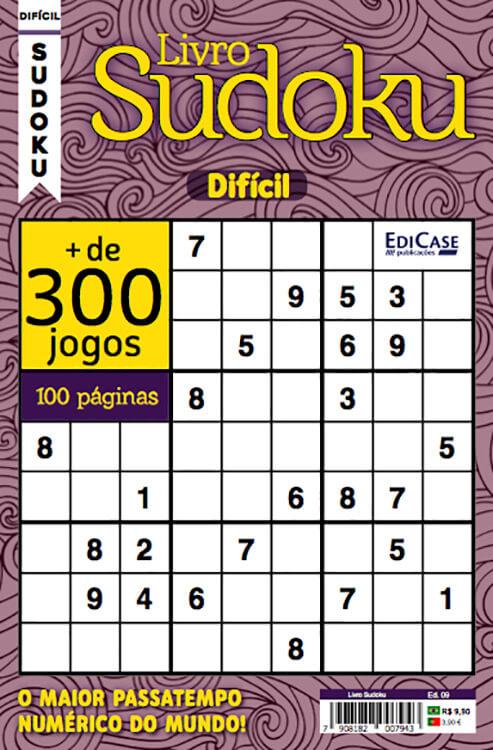 Livro Sudoku Ed. 09 - Difícil - Com Marcador de Tempo - Só Jogos 9x9   - EdiCase Publicações