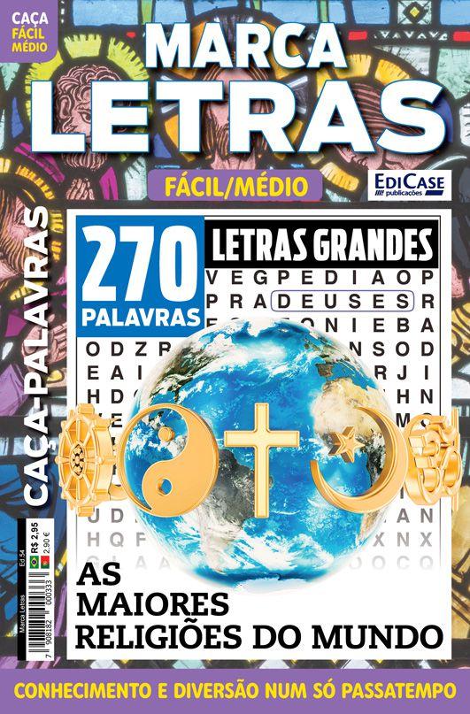 Marca Letras Ed. 54 - Fácil/Médio - Letras Grandes - As Maiores Religiões do Mundo  - EdiCase Publicações