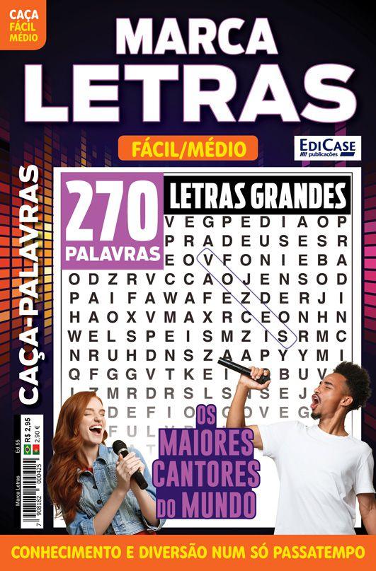 Marca Letras Ed. 55 - Fácil/Médio - Letras Grandes - Os Maiores Cantores do Mundo  - EdiCase Publicações