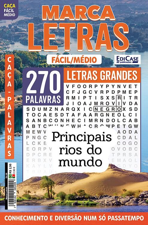 Marca Letras Ed. 59 - Fácil/Médio - Letras Grandes - Principais Rios do Mundo  - EdiCase Publicações