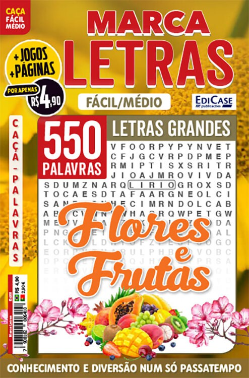 Marca Letras Ed. 60 - Fácil/Médio - Letras Grandes - Flores e Frutas  - EdiCase Publicações