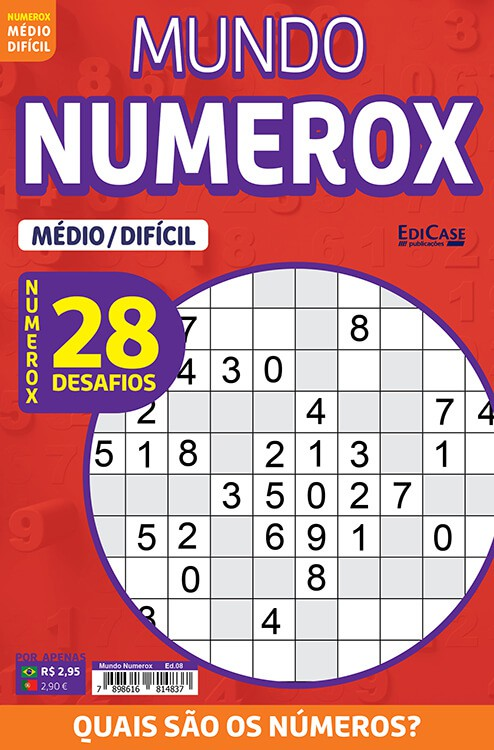 Mundo Numerox Ed. 08 - Médio/Difícil - 28 Desafios  - EdiCase Publicações