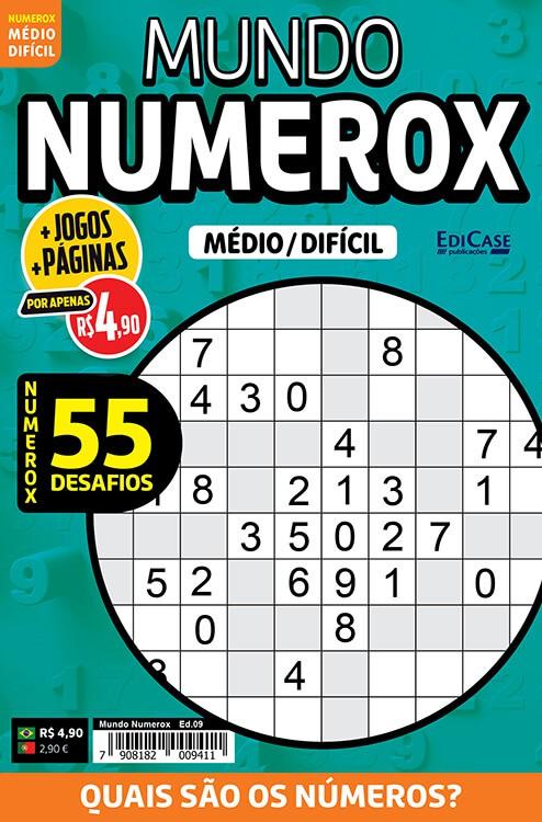 Mundo Numerox Ed. 09 - Médio/Difícil - 55 Desafios  - EdiCase Publicações
