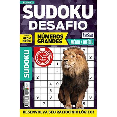 Sudoku Desafio Ed. 61 - Médio/Difícil - Só Jogos 9x9 - Números Grandes  - EdiCase Publicações