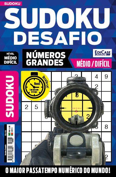 Sudoku Desafio Ed. 63 - Médio/Difícil - Só Jogos 9x9 - Números Grandes - 1 Jogo Por Página  - EdiCase Publicações