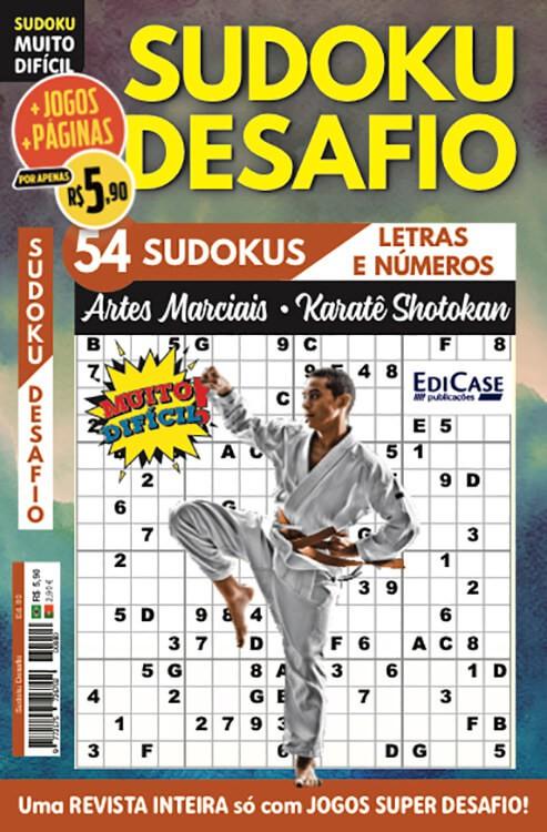 Sudoku Desafio Ed. 80 - Muito Difícil - Só Super Desafio - Com Letras e Números - Artes Marciais - Karatê Shotokan  - EdiCase Publicações