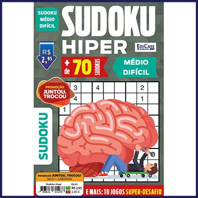 Sudoku Hiper Ed. 41 - Médio/Difícil - Jogos 9x9 + 10 Jogos Super-Desafio  - Case Editorial