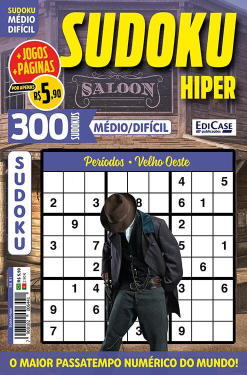 Sudoku Hiper Ed. 61 - Médio/Difícil - Só Jogos 9x9 - Períodos - Velho Oeste   - EdiCase Publicações